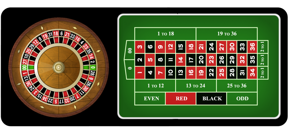 American roulette table and wheel